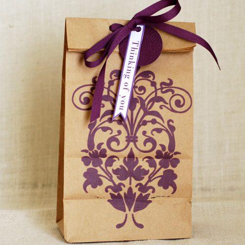 damask lunch bag art